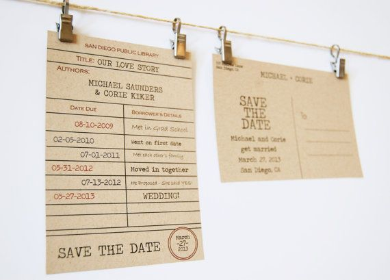 Library Card Save The Date Postcard Couples Love Story Vintage Stamp Kraft Paper