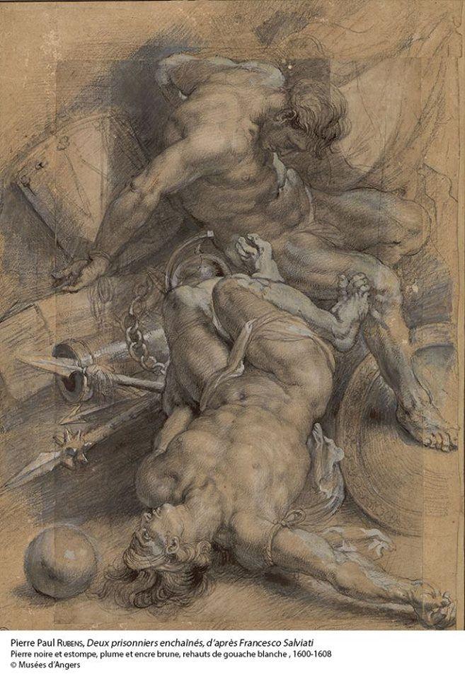 """Rubens - """"Deux prisonniers enchaînés"""", d'après Francesco Salviati 1600-1608…"""