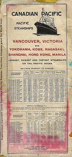 Canadian Pacific Railway Schedule, December 1, 1926