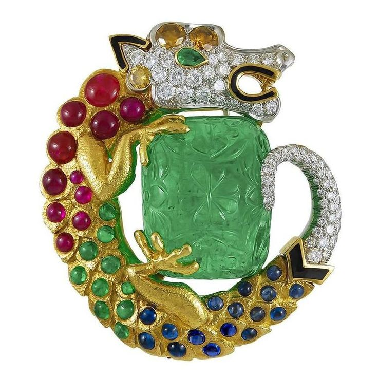 David Webb Carved Emerald Gem-Set Diamond Dragon Pendant Brooch | From a unique collection of vintage brooches at https://www.1stdibs.com/jewelry/brooches/brooches/