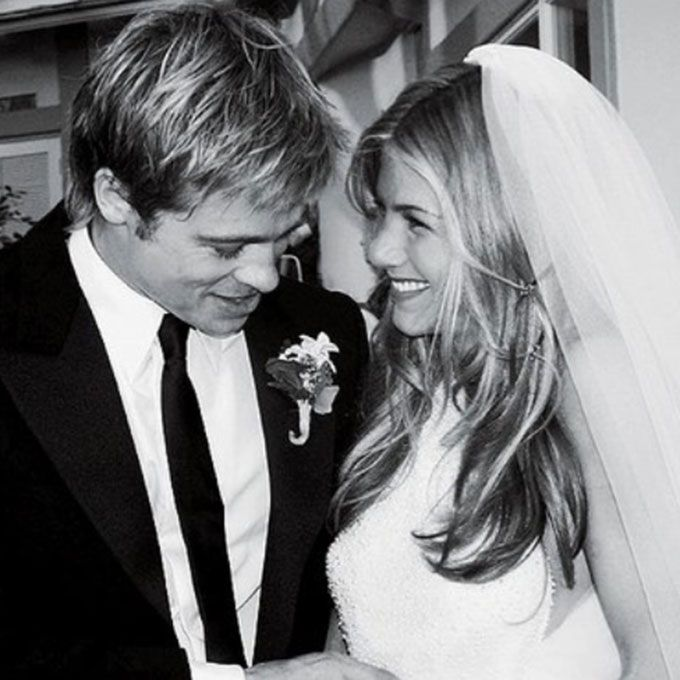 Brides: The Most Iconic Brides - Jennifer Aniston marries Brad Pitt in Lawrence Steele, 2000.