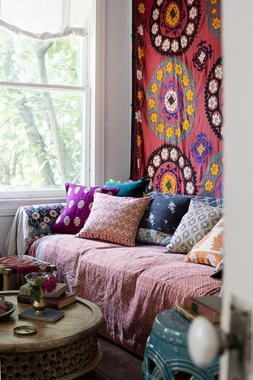 A Gallery of Bohemian Living Rooms | Apartment Therapy | pillows instead of back cushions
