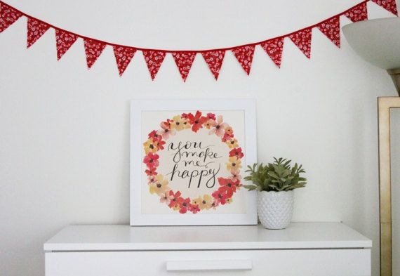 Japanese Cherry Blossom Mini Fabric Bunting #theevergreencollective