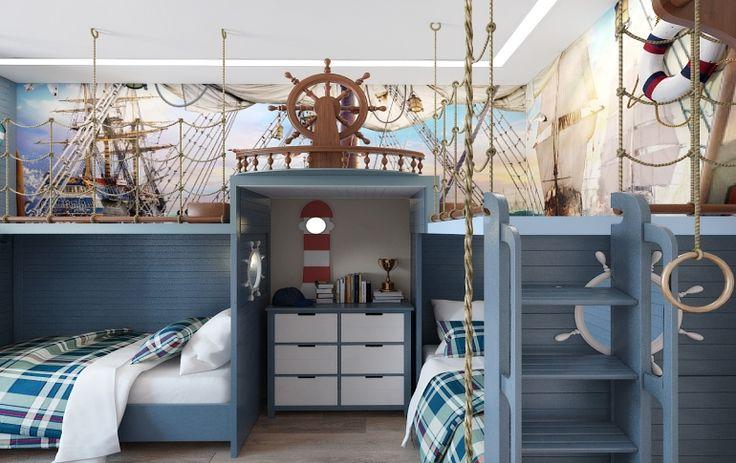 Дизайн интерьера детской комнаты для двух мальчиков с игровой зоной в морском, пиратском стиле.
