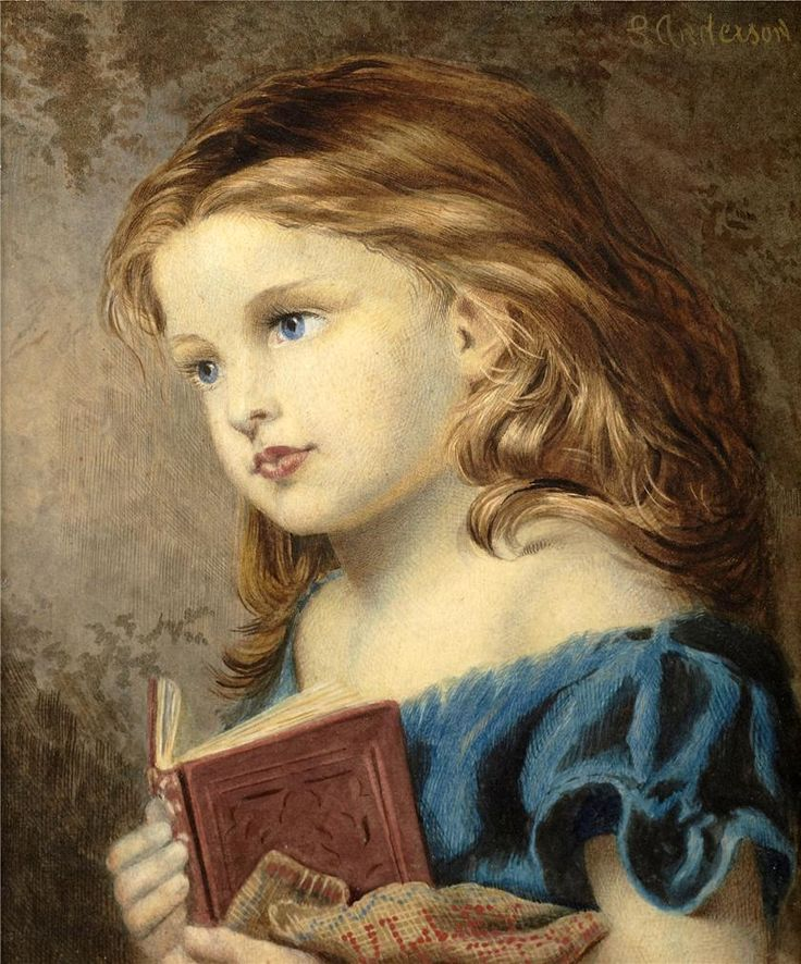 Reverie  - Sophie Anderson (1823-1903).  girl clutching book, thinking