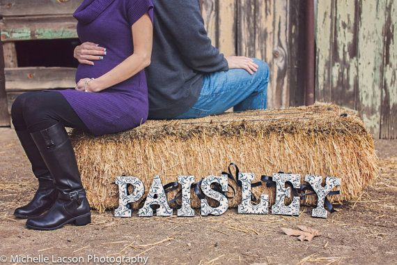 Personalized Hanging Wooden Wall Letters for Nurseries and Kids Rooms by Ally's Custom Art - Paisley Black and White - Maternity Photo Shoot Idea (Michelle Lacson)