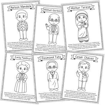 FREEBIE! Human Rights Leaders Biography Coloring Pages, Ea
