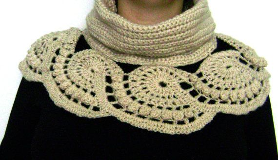 Crochet lace circle cowl.Ecru crochet neck by RiaCrochetCreations