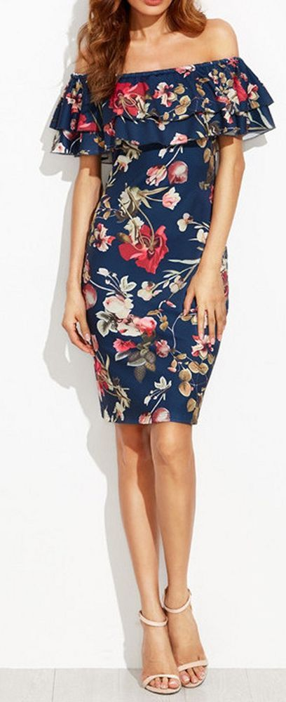 Women one shoulder retro flower floral dress fashion casual chic  #unbranded