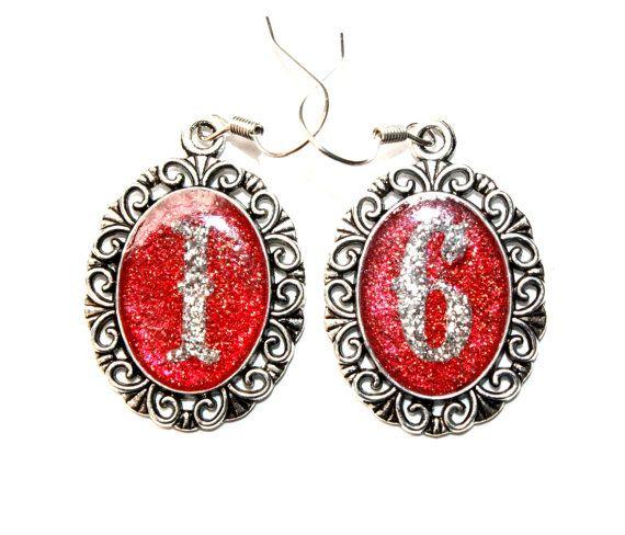 Sweet 16 Silver initial dangle earrings number by IraleneJewellry, $17.98