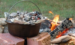 10 Campfire Cooking Favorites - Hobo Dinners, Omelets in a Bag, Baked Beans, Meatloaf in Onions, Breakfast Bannock, Farmer's Breakfast, Shish-kebobs, Simple Cobbler, Banana Boats, Hot Cocoa Mix