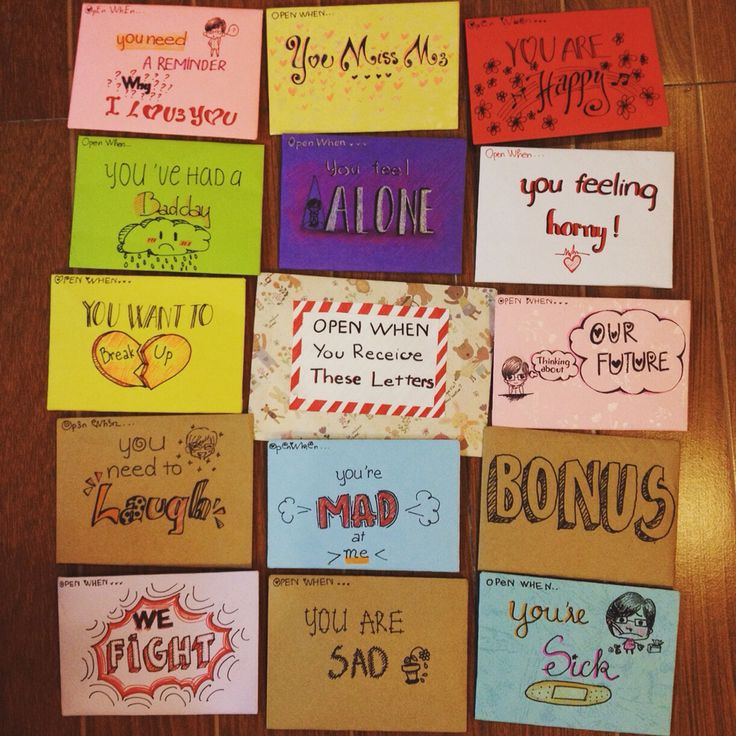 """""""Open When"""" letters I made for my boyfriend 159days DIY"""