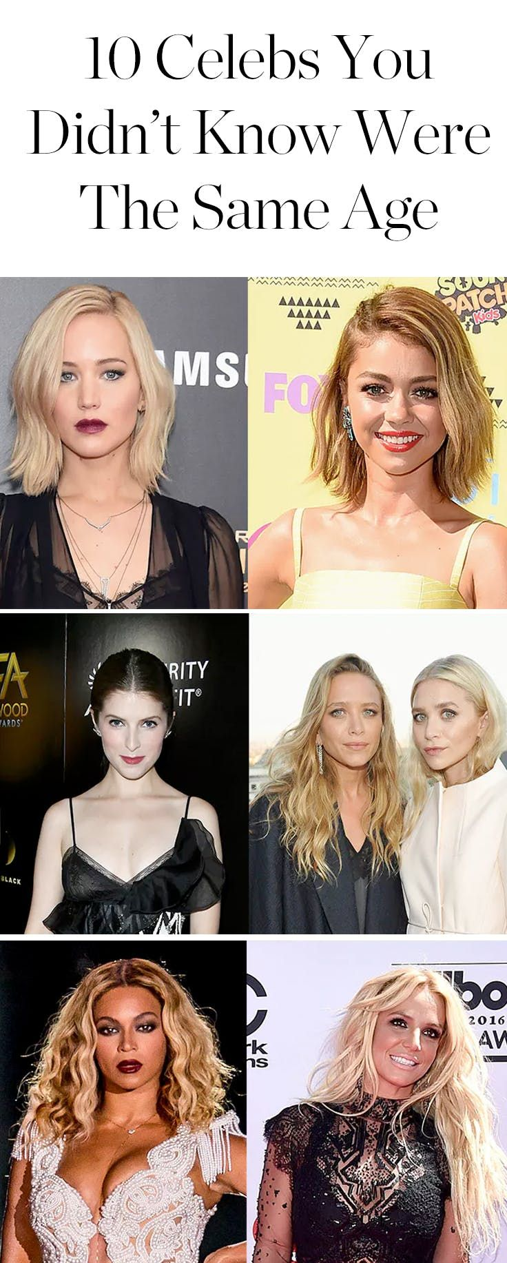Whoa! Jennifer Lawrence and Sarah Hyland Are the Same Age (and 9 Other Celeb Duos That Will Surprise You) via @PureWow