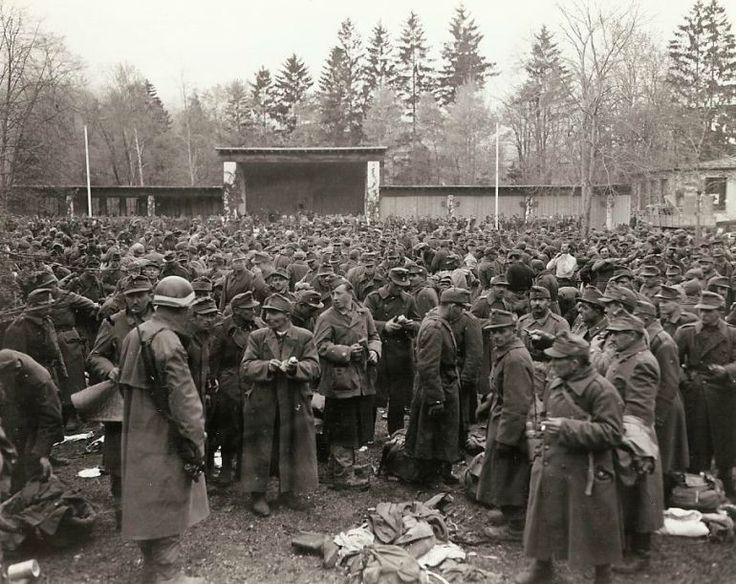 Hungarian surrender: Great mass of Hungarian troops who surrendered to Seventh Army, are rounded up in Garmisch-Partenkirchen, scene of the last winter Olympics held before the war