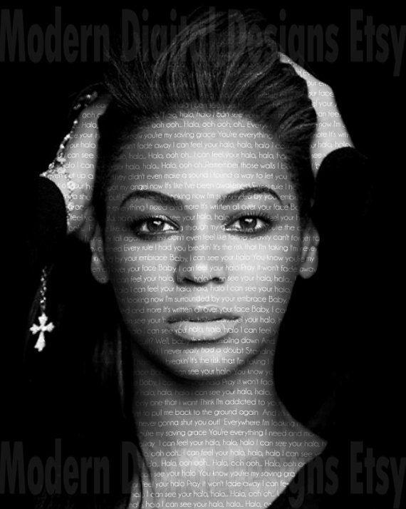 Beyoncé Poster Music Song Lyric Typography by ModernDigitalDesigns