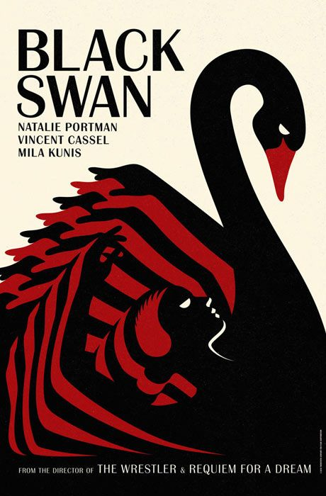"""The adverts were created by the British design studio LaBoca and are influenced by Polish and Czech posters of the 60s and 70s, as well as ballet advertisements of the early 20th century."" - http://www.guardian.co.uk/film/filmblog/2010/dec/20/black-swan-posters"