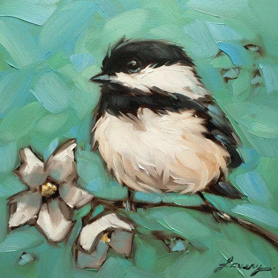 Chickadee painting Original oil painting of Chickadee par LaveryART