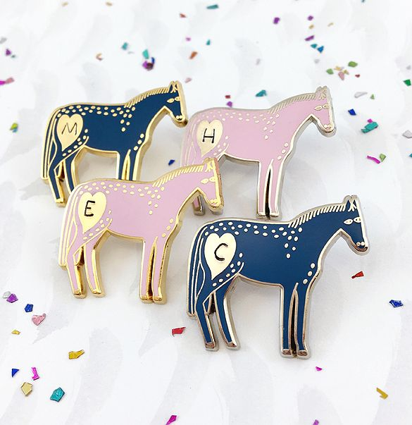 Bonbi Forest Personalised Pony Pin   Enamel Pins by Lee May Foster-Wilson. Click through to treat yourself! (Little tip: Receive 15% off if you sign up to our newsletter first!)