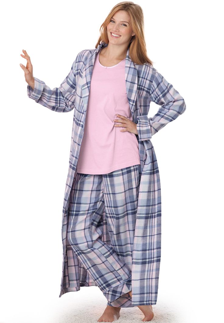 Plaid flannel robe by Dreams & Co.® | Plus Size Fall Trends | Woman Within #WWFallContest