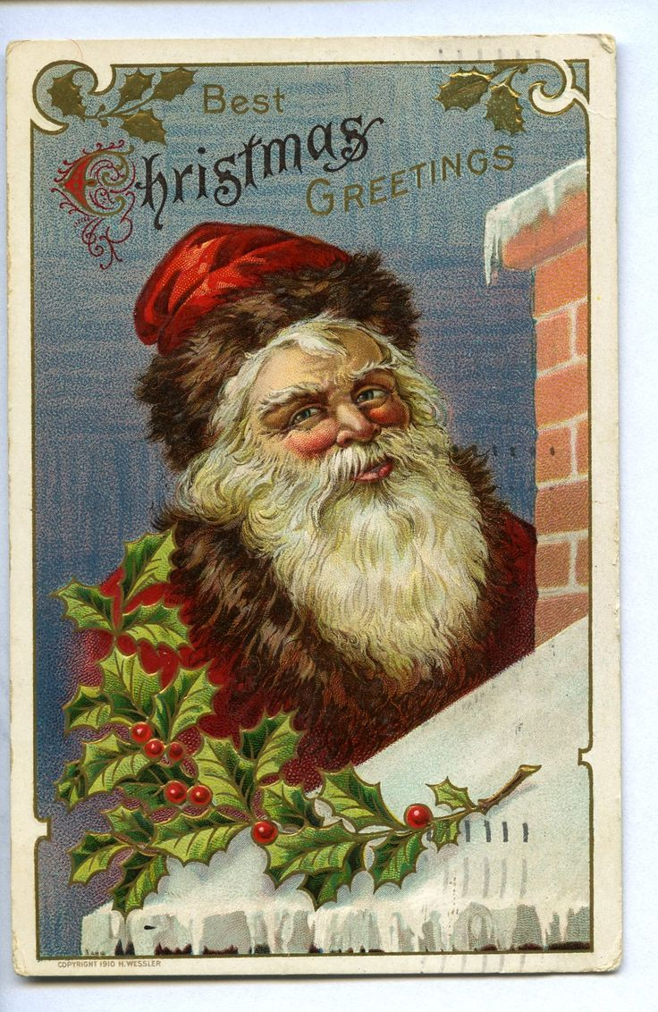 Best Christmas Greetings, c. 1910. Note the color and warmth of Santa's garments. @KentCoHistory