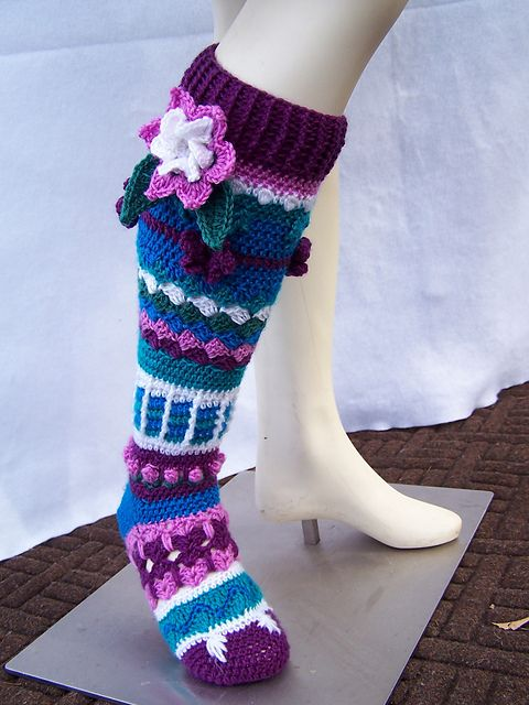 Crochet Flower Knee Highs ... pattern available for purchase at http://www.ravelry.com/patterns/library/flower-knee-highs