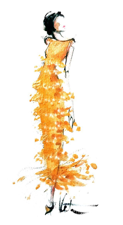 Oscar de la Renta Fall 2014 looks illustrated in gouache~❥