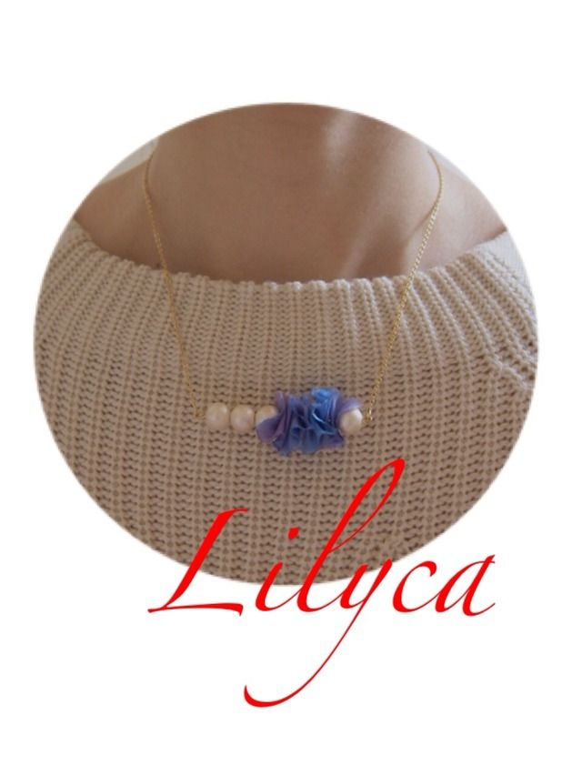Bule Ribbon Necklace by lilyca アクセサリー ネックレス