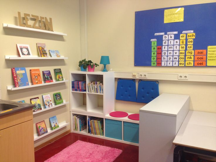 Hopelijk kunnen de kinderen van groep 3 en 4 nu heerlijk lezen in onze leeshoek. Vooral veel spullen van IKEA gebruikt: KALLAX kasten, RIBBA fotowandplanken, vloerkleed, kussentjes en lampje.....