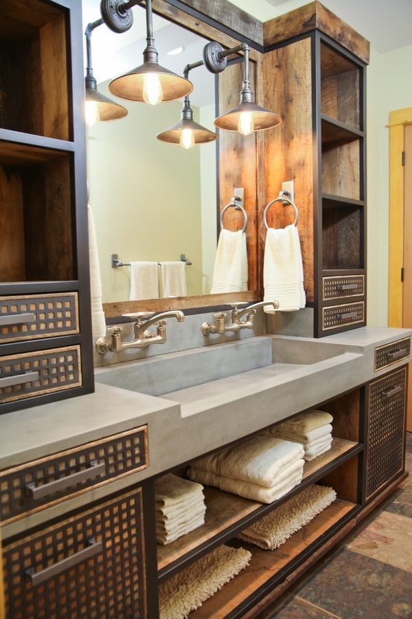 industrial style bathroom ideas concrete sink vanity with storage space wall sconces