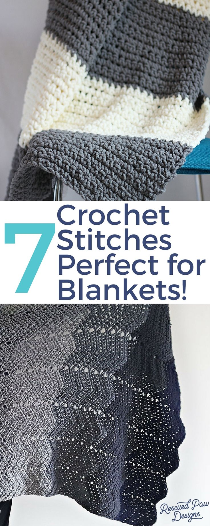 Crochet Stitches for Blankets - Use of these 7 stitches today to create the perfect crochet baby blanket! With this list of easy crochet blanket stitches you will be sure to find the one to create the best crochet baby blanket! Each one would be good crochet stitches for blankets! Use all 7 crochet stitches for just one! More free patterns just like this can be found at www.rescuedpawdesigns.com! Free and Simple Crochet!