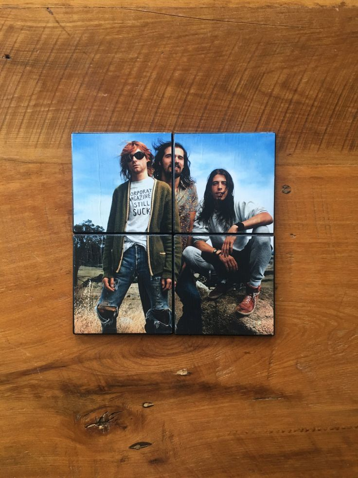 NIRVANA with KURT COBAIN from Rolling Stone Magazine in 1992 on a Set of 4 Ceramic Hot and Cold Drink Beverage Coasters + Felt Backing by UpcyclingIt on Etsy