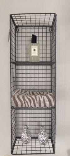 Metal-Wire-Locker-Room-Industrial-Style-Shelving-Unit-Grey-3-Shelf-Wall-Hanging