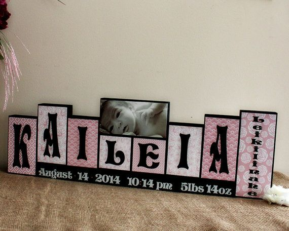 202 best decorative wood blocks images on pinterest housewarming unique new baby gift wooden name blocks personalized with birth stats childs room decor 7 letters first middle name and photo block negle Gallery