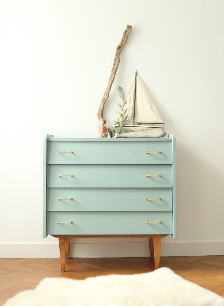 commode vintage années 60 bleue  TRENDY LITTLE