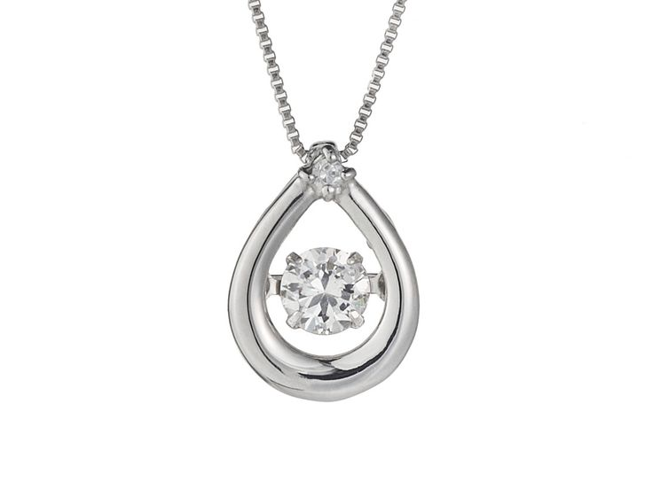 Simple 18ct White Gold and Dancing Diamond Pendant