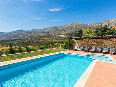 Rethymno villa rental - The pool offers great views of the surrounding area!