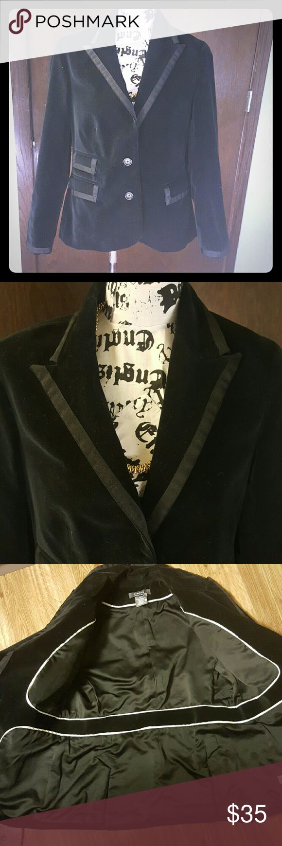 Beautiful Black Blazer Feels like satin! Extremely well designed and crafted blazer  Designer blazer with tuxedo style collar  Size 12  New No wear George Me by Mark Eisen Jackets & Coats Blazers