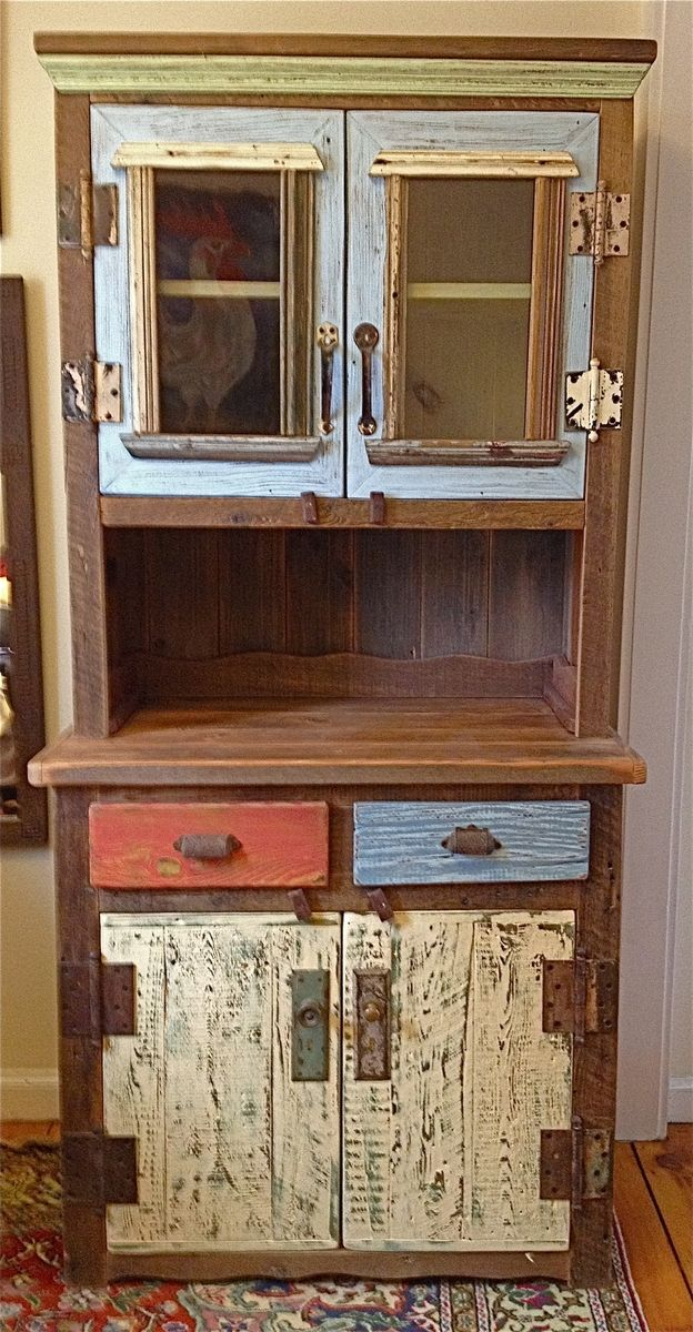 Wonderful Reclaimed Hutch Upper Doors Are Chambray Blue Lower Heavily Distressed 2 Dining Room