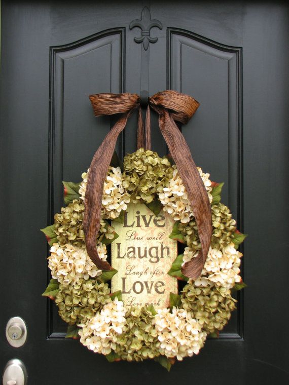 SPRING/Summer Hydrangeas,  22 Wreath, Live Laugh, Love, Hydrangea Wreath, Wedding Decorations, Spring Wreaths, Original Handmade Wreaths via Etsy
