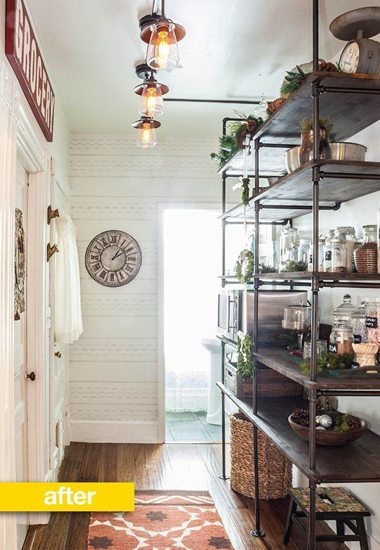 Pantry Before & After: An Empty Hallway Turned Pipe Shelf Pantry — Pantry Makeover   The Kitchn
