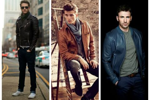 Men's outfits for fall, winter - leather jacket.