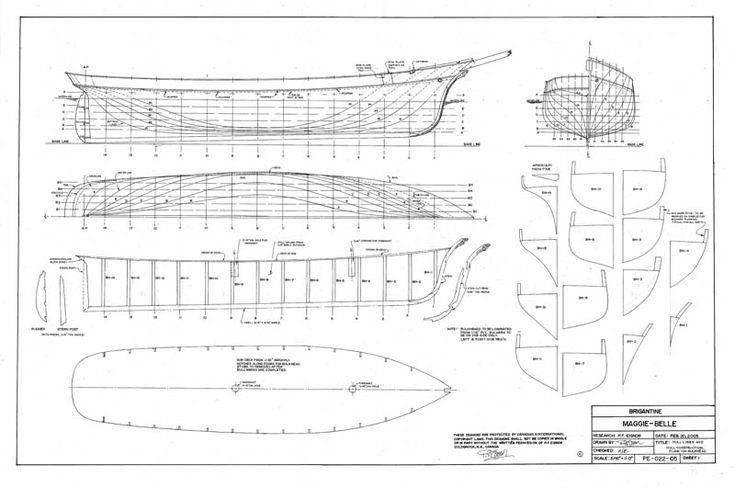 The Brigantine Maggie Belle Plans - Model Ship Builder | PROJECT06 | Pinterest | Belle