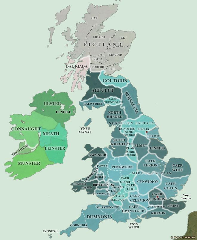 This map of Britain concentrates on the British territories and kingdoms that were established during the fourth and fifth centuries, as the Saxons and Angles began their settlement of the east coast. It provides an overview of all the territories known or estimated to have existed under Romano-British control, but not all of them existed at the same time, or in the same form as shown here. Clickable map for more information on each territory.