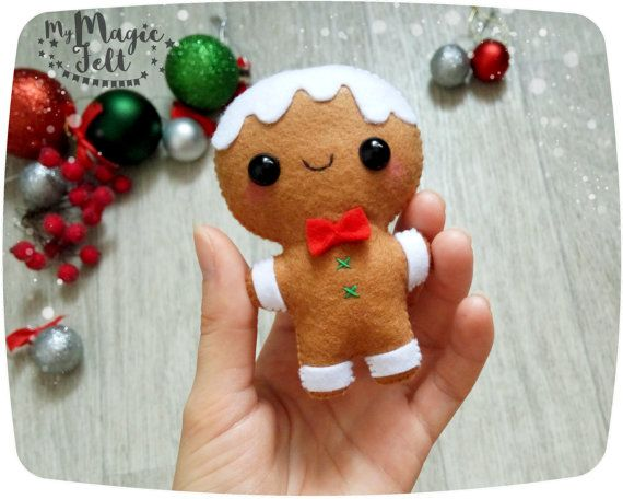Christmas Ornaments felt Gingerbread man ornament Christmas decorations felt Cute gingerbread man Christmas decor new years decorations