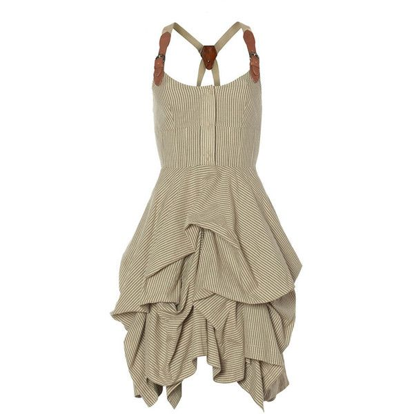 Nightingale Melody Dress ($165) ❤ liked on Polyvore featuring dresses, vestidos, sukienki, short dress, women, leather dress, brown dress, allsaints dresses, leather mini dress and mini dress