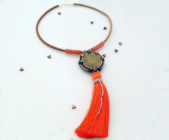 Vintage Mystical Pendant Necklace, Tassel Necklace, Gold and Orange Necklace, Statement Collar Necklace, Peyote Necklace