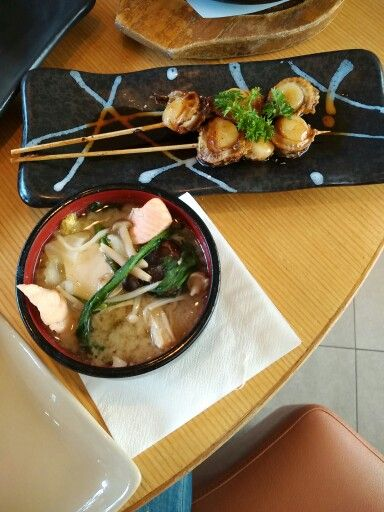 Salmon belly soup n oyster satay