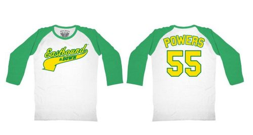 Commemorate your favorite cult classic with an awesome Eastbound & Down Powers 55 Green & White Raglan Baseball Adult T-shirt . Free shipping on Eastbound & Down Kenny Powers Costumes orders over $50.