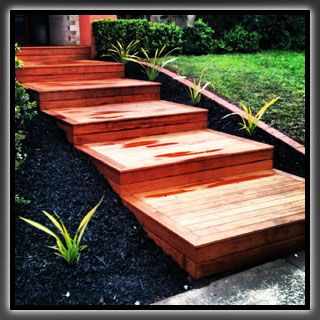 Merbau decking steps for front yard