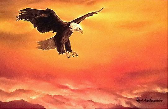 Eagle, painting,  wall,art,wildlife,sky,sunset,sunrise,orange,home,office,decor,bright,beautiful,images,artwork,for,sale,modern,contemporary,awesome,cool,scenic,big,bird,bald,flying,soaring,light,oil painting,items,ideas, fine art america